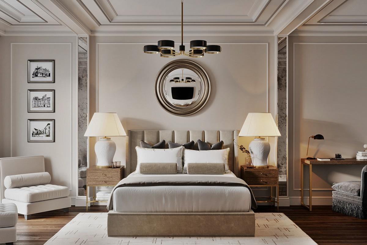 Phòng ngủ trong chung cư được thiết kế nội thất phong cách tân cổ điển