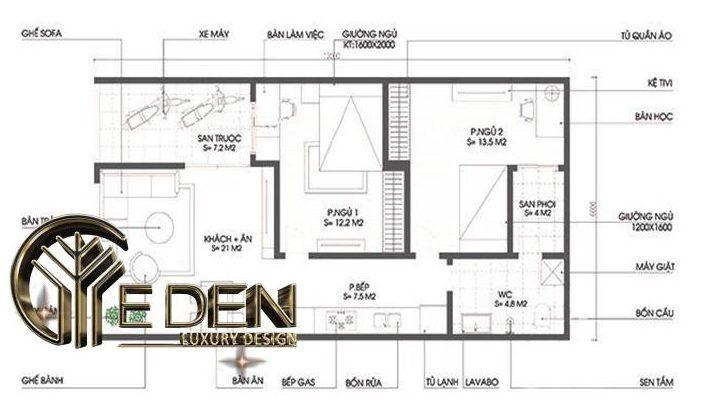 Mặt bằng công năng các khu vực trong thiết kế nhà ống 1 tầng 2 phòng ngủ