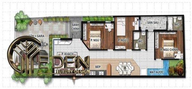 Bản vẽ thiết kế mặt bằng công năng tầng 1 nhà ống 3 phòng ngủ