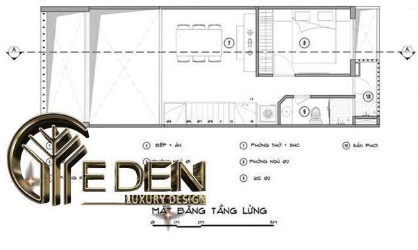 Mặt bằng tầng lửng cho thiết kế nhà ống 1 tầng hiện đại