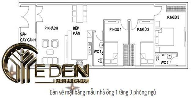 Bản vẽ thiết kế mặt bằng nhà ống 5x25 có 3 phòng ngủ