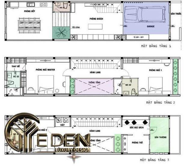 Bản vẽ thiết kế mặt bằng công năng các tầng trong thiết kế nhà ống 3 tầng 5x20