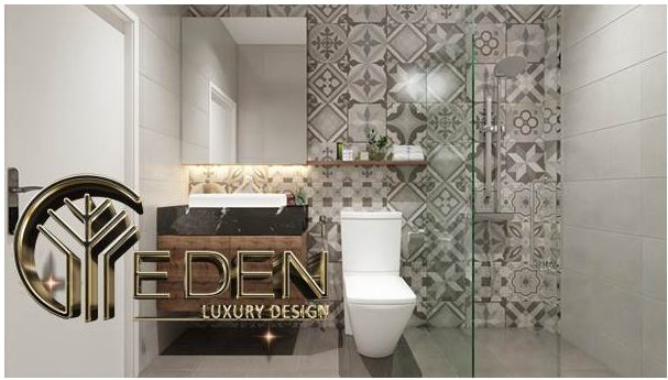 Nhà vệ sinh hiện đại kết hợp với phòng tắm kính trong suốt