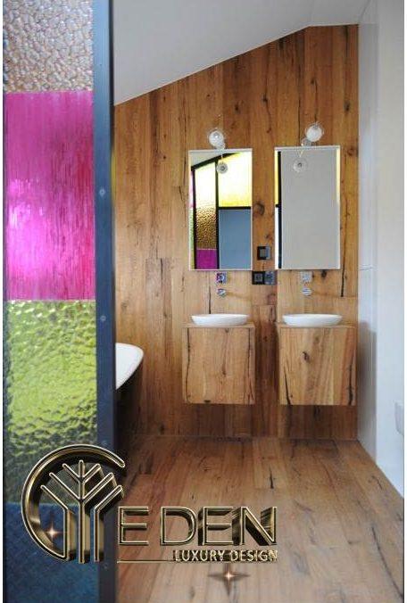 Nhà vệ sinh thiết kế gỗ sạch sẽ, mát mẻ và thẩm mỹ