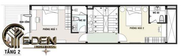 Mặt bằng tầng 2 cho thiết kế nhà ống 3 tầng 60m2 đẹp