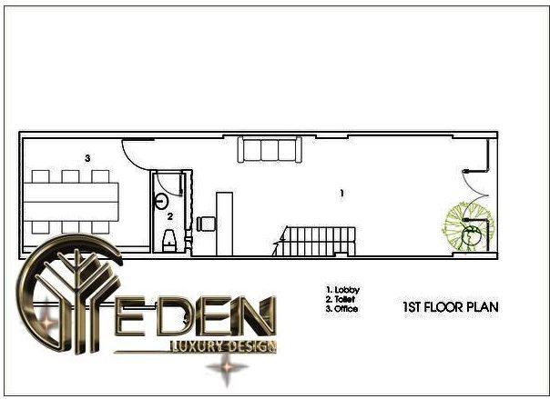 Mặt bằng tầng 1 gồm có sảnh, văn phòng và nhà vệ sinh