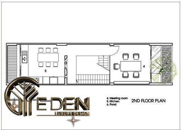 Mặt bằng công năng tầng 2 gồm: phòng họp, phòng bếp + ăn và tiểu cảnh