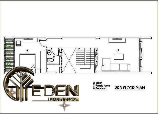 Mặt bằng công năng tầng 3 gồm: nhà vệ sinh, phòng sinh hoạt gia đình và phòng ngủ