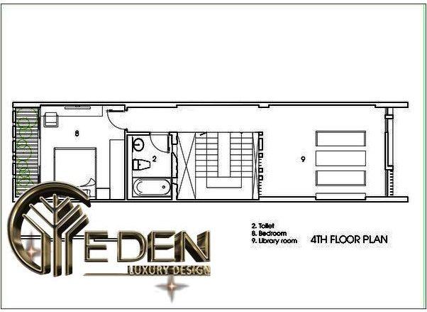 Mặt bằng công năng tầng 4 có thiết kế nhà vệ sinh, phòng ngủ và thư viện