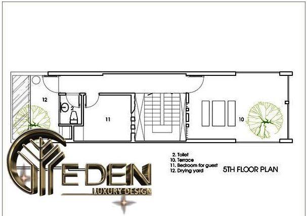 Mặt bằng công năng tầng 5 gồm: nhà vệ sinh, sân thượng, phòng ngủ cho khách và khu vực phơi đồ