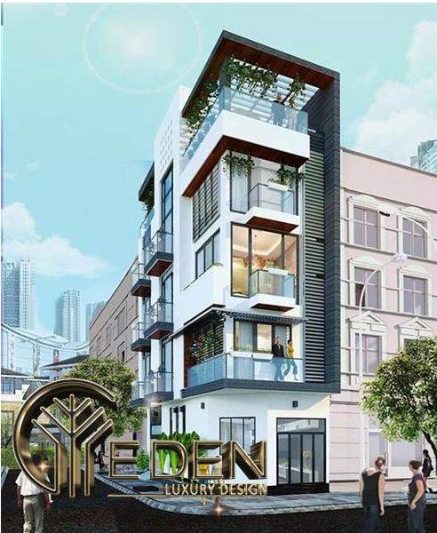 Thiết kế nhà ống 5 tầng 2 mặt tiền đẹp, thích hợp cho kinh doanh quán cafe
