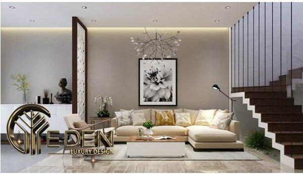 Nội thất phòng khách hài hòa với màu be và nâu nhạt