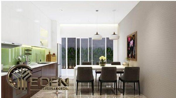 Không gian phòng bếp sạch sẽ, gọn gàng với thiết kế hài hòa