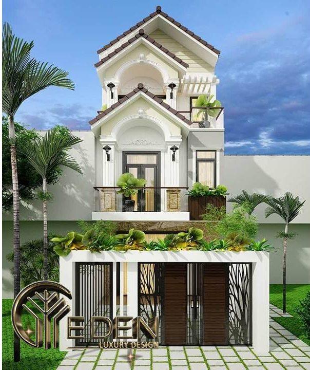 Mẫu thiết kế nhà ống mặt tiền 4m với sân vườn nhỏ trước nhà