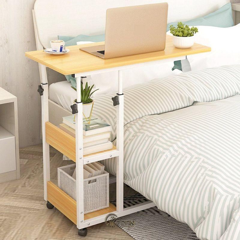 Mẫu bàn thông minh có bánh xe giúp cho bạn thuận tiện trong việc học tập và làm việc ngay trên giường