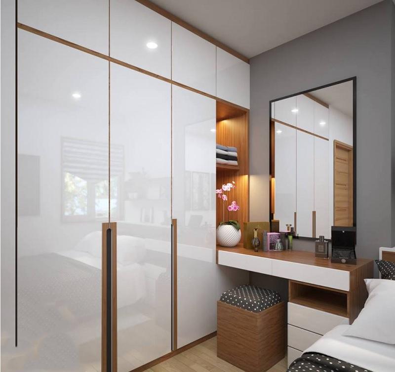 Trang trí phòng ngủ với bàn trang điểm nhỏ gắn tường