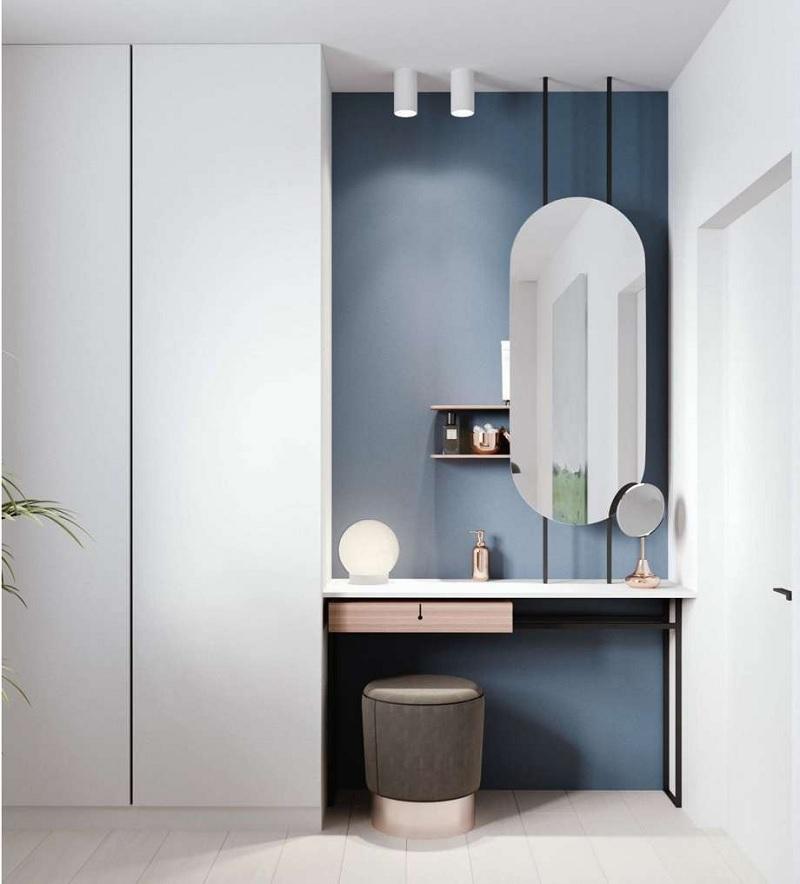 Trang trí phòng ngủ với bàn trang điểm nhỏ với gương oval