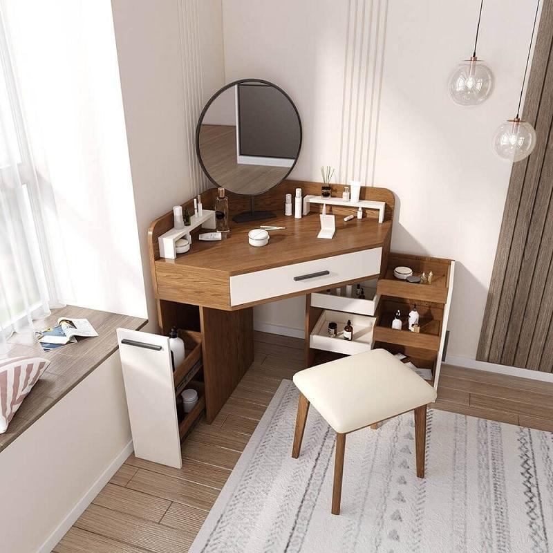 Trang trí phòng ngủ với bàn trang điểm nhỏ tận dụng góc tường