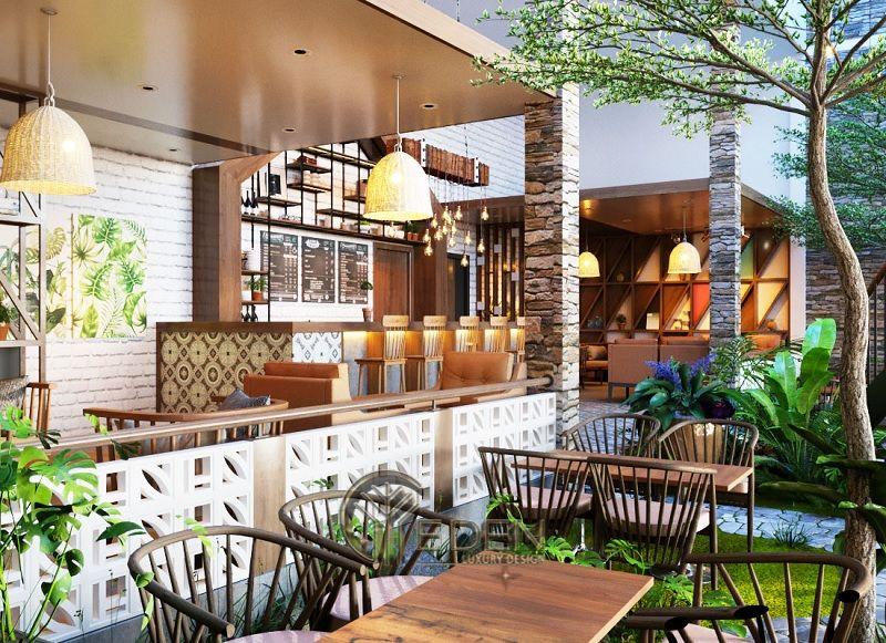 Thiết kế quán cafe cây xanh với mô hình sân vườn