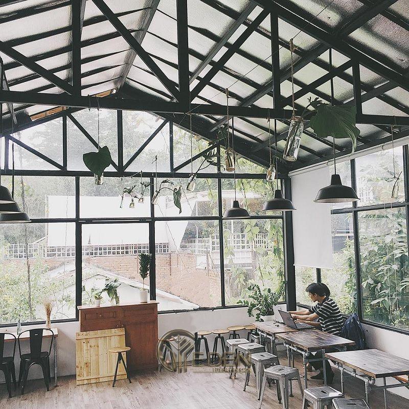 Thiết kế quán cafe bằng kính - phong cách thời thượng