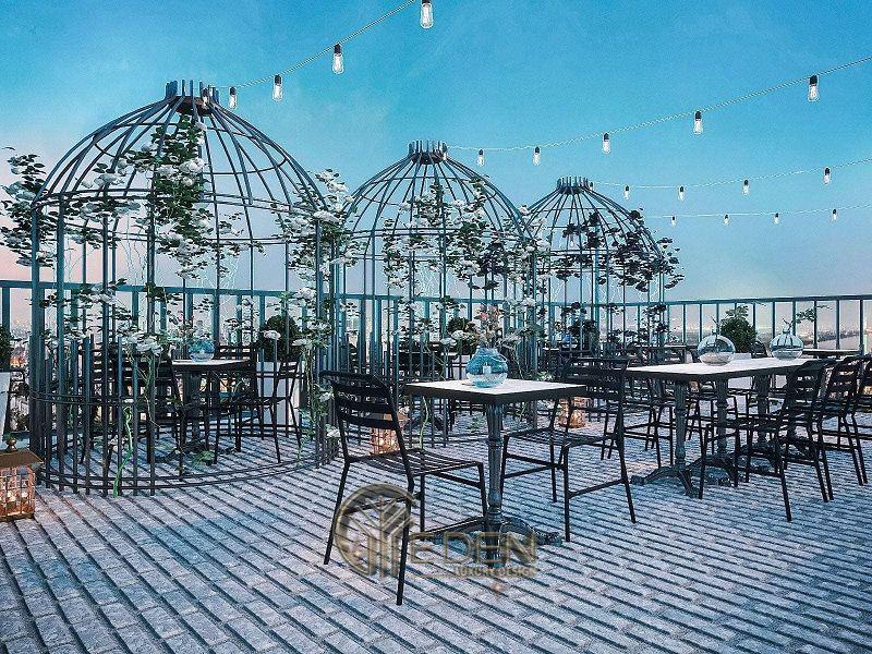 Thiết kế quán cafe sân thượng phong cách Châu Âu sang trọng