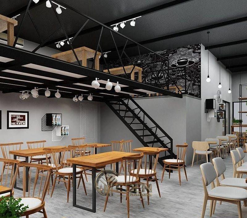 Thiết kế quán cafe có gác lửng mang phong cách hiện đại lôi cuốn