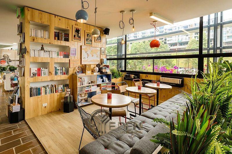 Thiết kế quán cafe sách phong cách hiện đại cách tân