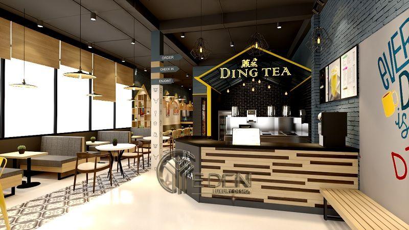 Thiết kế quán cafe trà sữa phong cách hiện đại