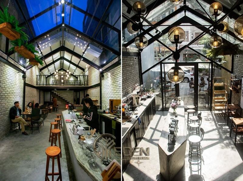 """Thiết kế quán cafe mở hiện đại, sang trọng tận dụng """"khung kính"""""""