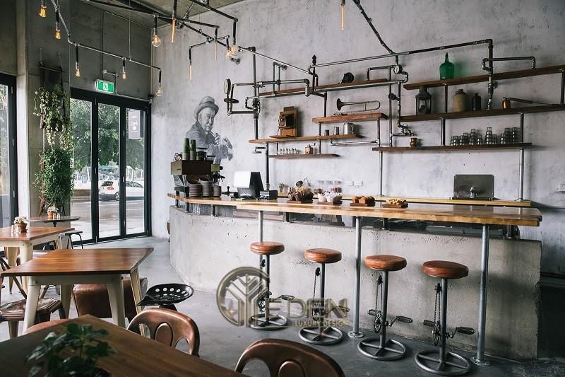Thiết kế quán cafe phong cách Retro pha màu hiện đại