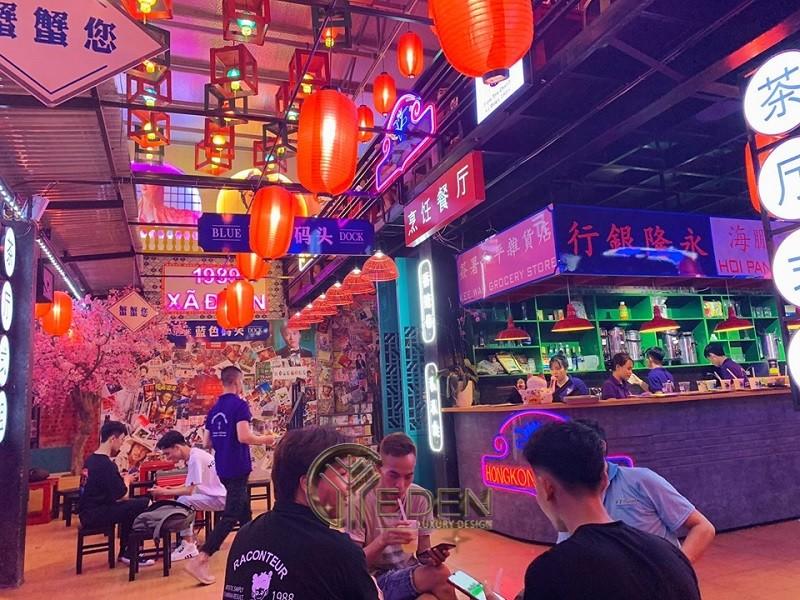 Thiết kế quán cafe phong cách HongKong với hình ảnh đèn lồng Trung Hoa