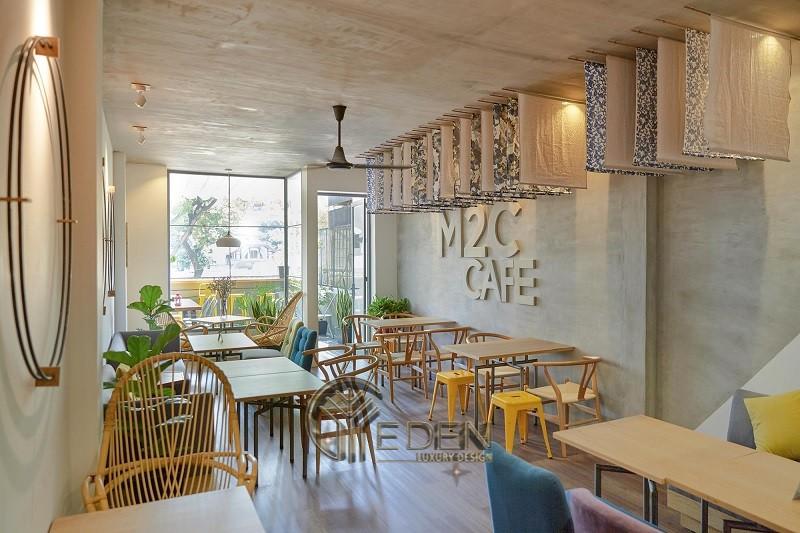 Thiết kế quán cafe phong cách Hàn Quốc chất liệu chủ đạo là gỗ nhạt