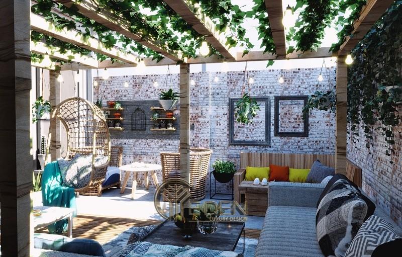 Thiết kế quán cafe mở hiện đại, sang trọng tận dụng không gian xanh