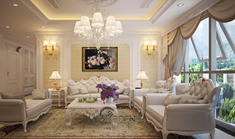 Thiết kế nội thất phòng khách với phong cách cổ điển (4)