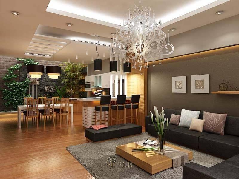 Đèn chùm cung cấp tổng lượng ánh sáng phát ra cho căn phòng, tập trung xung quanh khu vực trung tâm.