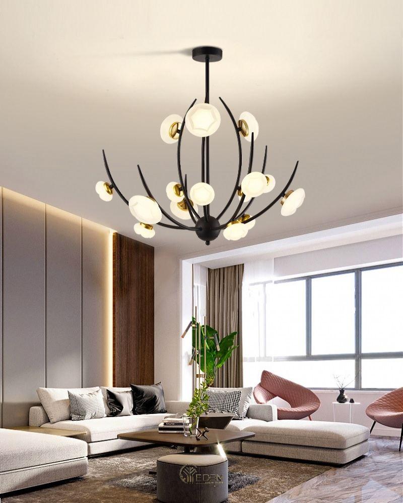 Mẫu đèn chùm trang trí cho phòng khách tạo điểm nhấn sang trọng