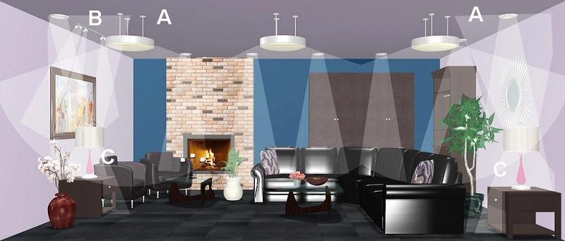Ý tưởng 1: 1 đèn trần, 2 đèn bàn và 4 đèn tường