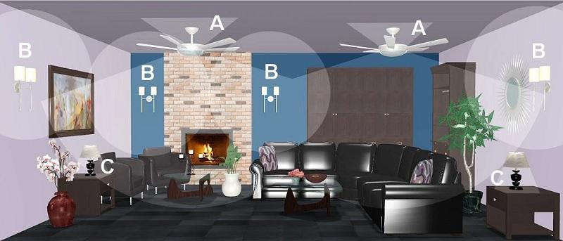 Ý tưởng 3: 2 đèn quạt, 4 đèn tường và 2 đèn bàn