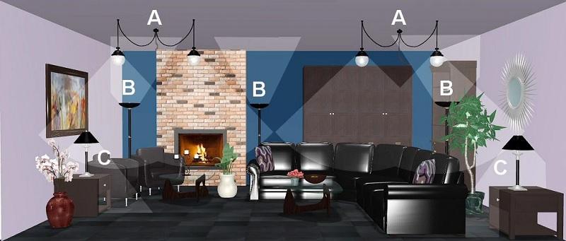 Ý tưởng 3: 2 đèn trần, 3 đèn cây và 2 đèn bàn