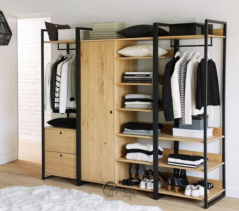 Mẫu tủ quần áo đơn giản, dễ dóng tại nhà dáng không cánh (4)