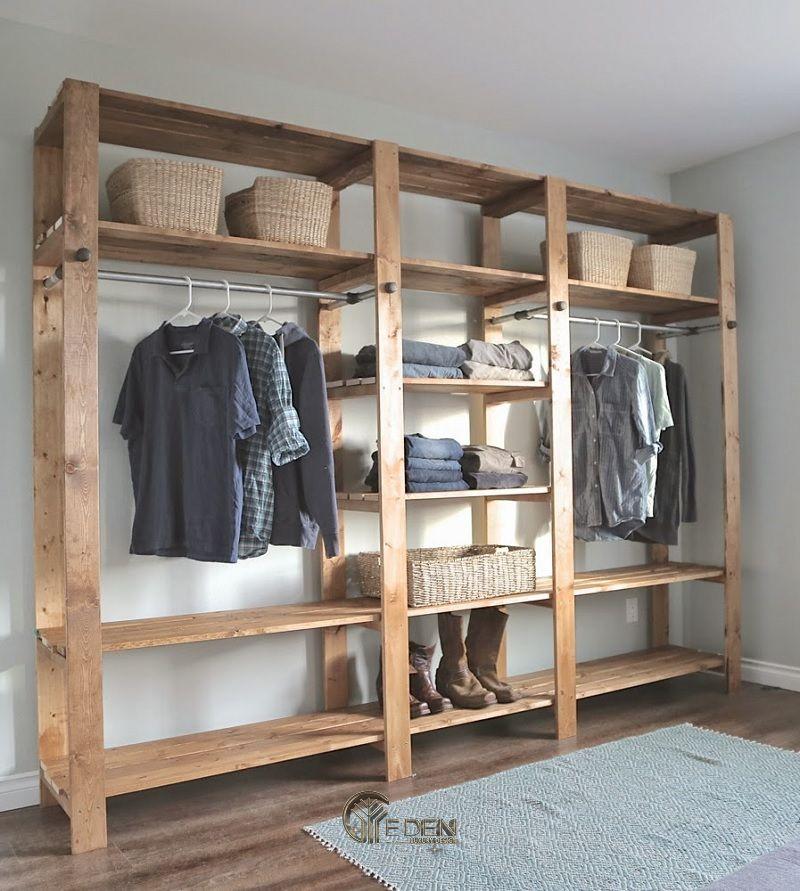 Mẫu tủ quần áo đơn giản, dễ dóng tại nhà dáng không cánh (1)