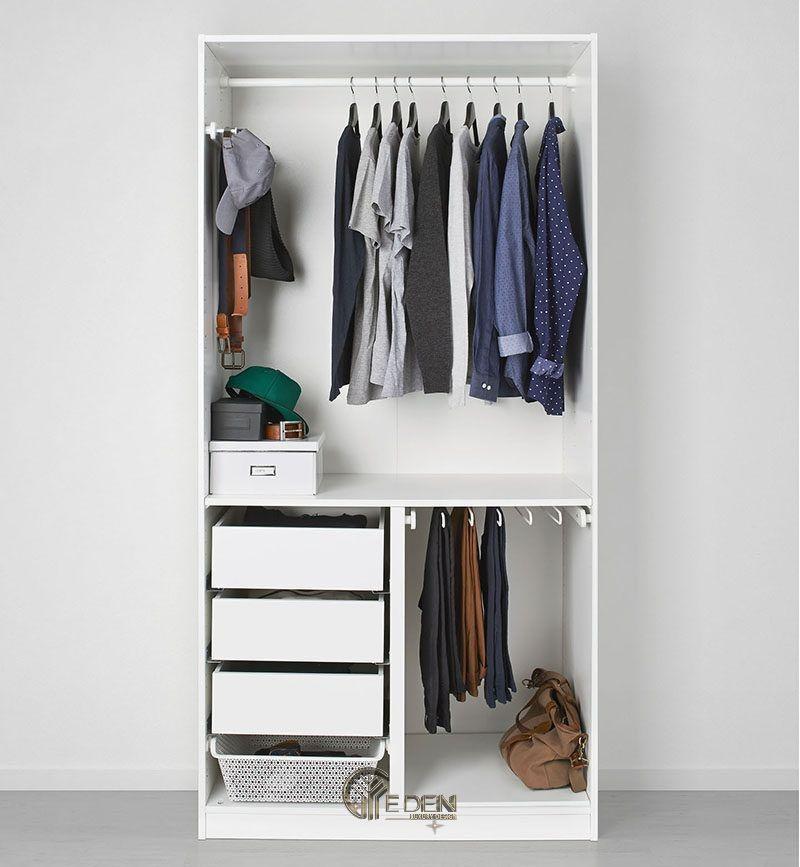 Mẫu tủ quần áo đơn giản, dễ dóng tại nhà dáng không cánh (2)