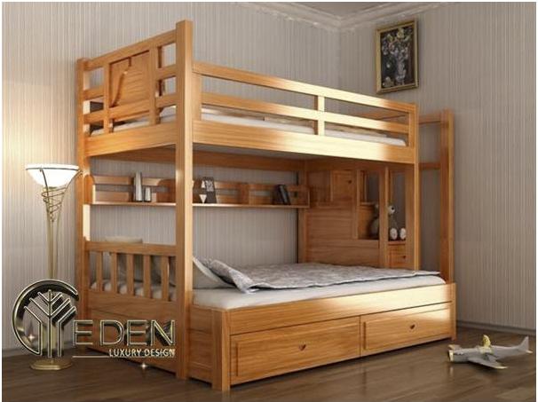 Giường tầng gỗ tự nhiên mang lại sự chắc chắn và sang trọng