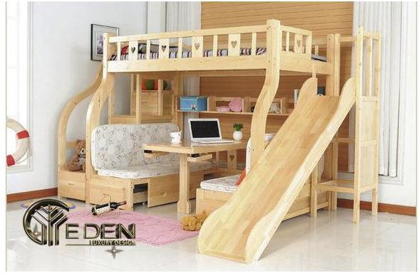 Giường 2 tầng cho bé bằng gỗ tự nhiên đa năng