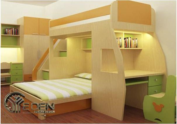 Giường tầng thông minh cho bé được làm bằng gỗ công nghiệp