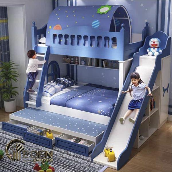 Bộ giường tầng thông minh cho bé trai giật cấp màu xanh thủy thủ