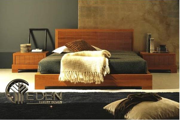 Giường gỗ căm xe hiện đại, sang trọng
