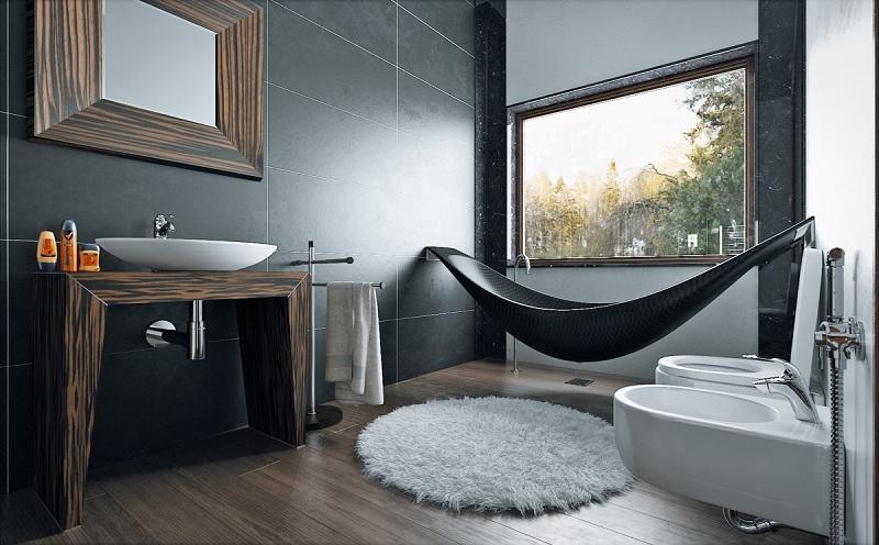 Mẫu nhà vệ sinh hiện đại cho không gian rộng, tinh tế gới gam màu đen huyền bí