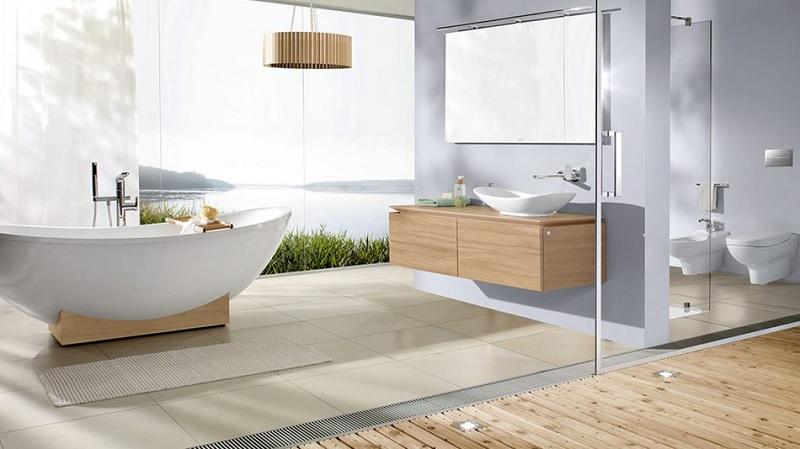 Mẫu nhà vệ sinh hiện đại, đơn giản với gam màu trắng, sạch sẽ gọn gàng