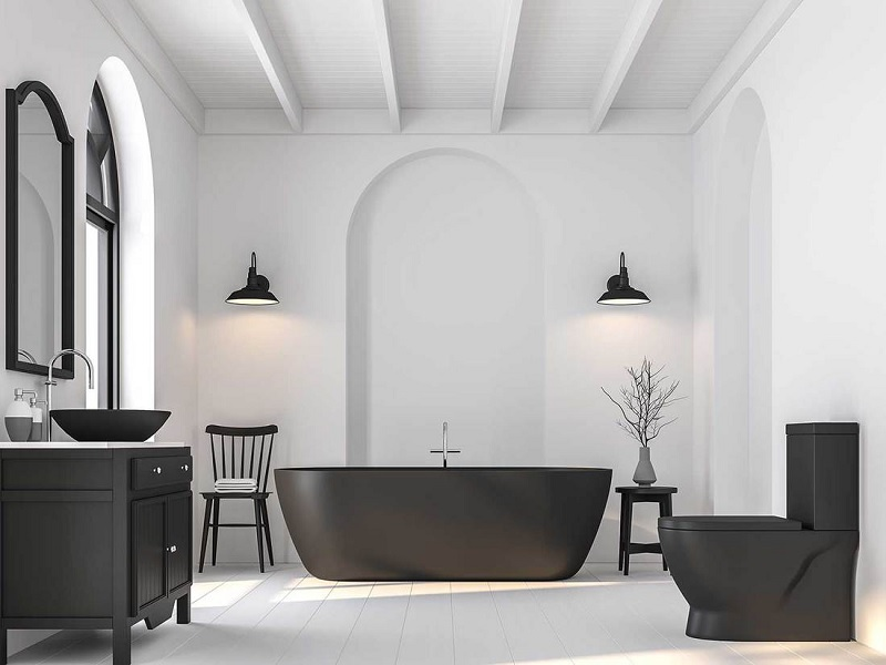 Mẫu nhà vệ sinh phong cách tối giản cho không gian rộng với gam màu đen trắng huyền bí